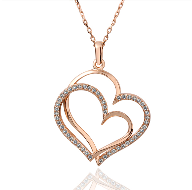 Rose Gold Plated Pendant with Double Heart and Czech Crystals La