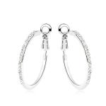La Javardi 18k White Gold Small Hoop Pierced Earring