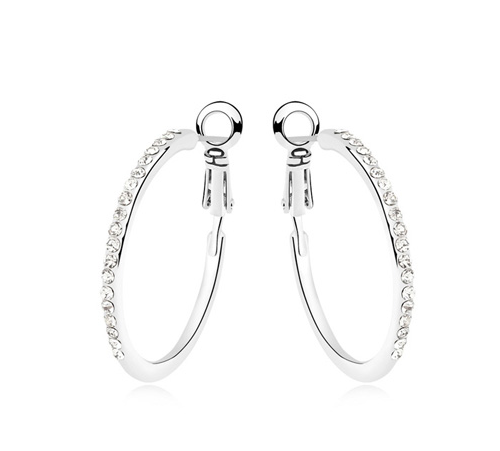La Javardi 18k White Gold Small Hoop Pierced Earring