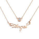 La Javardi Rose Gold Plated Double Pendant Angel Necklace