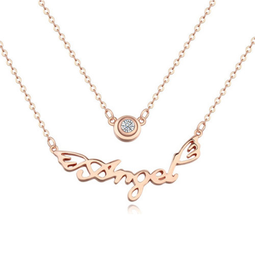 La Javardi Rose Gold Plated Double Pendant Angel Necklace