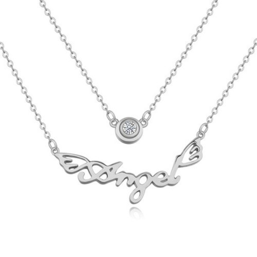 La Javardi Double Pendant Angel Necklace - Silver
