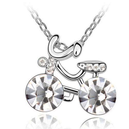 La Javardi Bike Shaped Necklace Swarovski Element Crystals