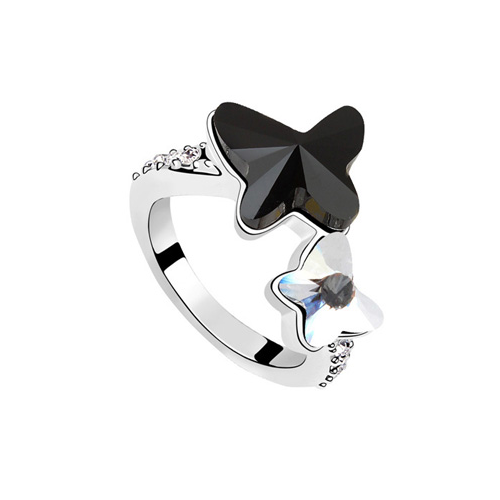 La Javardi Black Coloured Butterfly Ring