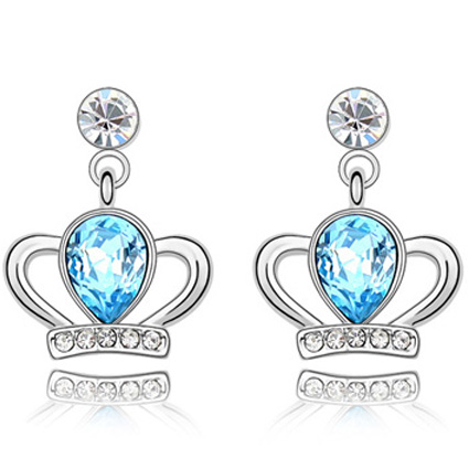 La Javardi Blue Swarovski Crystal Element Crown Earings
