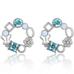 La Javardi Blue Swarovski Crystal Element Earings