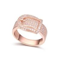 La Javardi Buckle Ring Rose Gold Swarovski Element Crystals