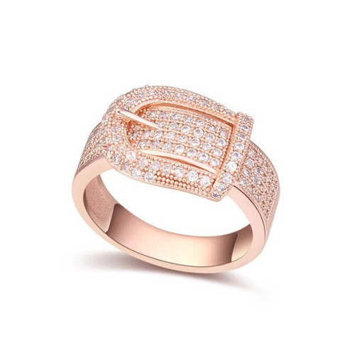 La Javardi Buckle Ring Rose Gold Swarovski Element Crystals