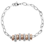 La Javardi Charm Bracelet Rose Gold With White Gold Swarovski Element Crystal