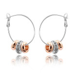 La Javardi Charm Earings With Rose Gold And White Gold Swarsvoski Element