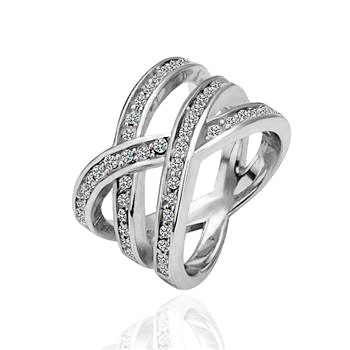 La Javardi Criss Cross White Gold Plated Ring