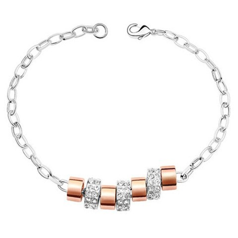 La Javardi Cubic Charm Bracelet Rose Gold With White Gold Swarovski Elements Crystals