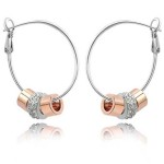 La Javardi Cubic Charm Earings With Rose Gold And White Gold Swarsvoski Element