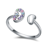 La Javardi Double Heart Multi Coloured Thumb Ring