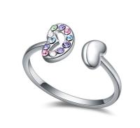 La Javardi Double Heart Multi Coloured Thumb Ring