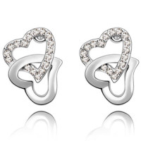 La Javardi Double Heart Shaped Earrings Jewelry Swarovski Element Crystal