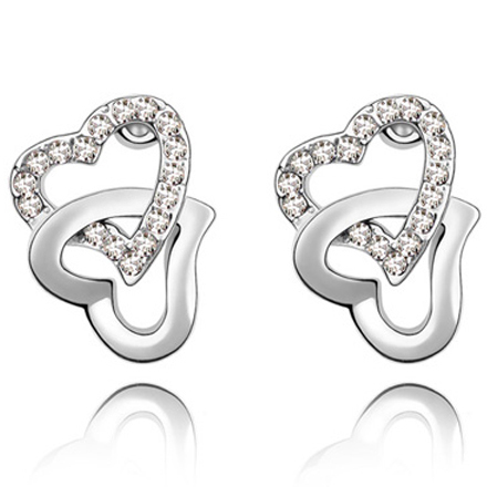 La Javardi Double Heart Shaped Earrings Jewelry Swarovski Element Crystal