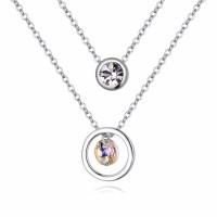 La Javardi Double Layered Pendant Necklace 18K White Gold Plated Swarovski Element