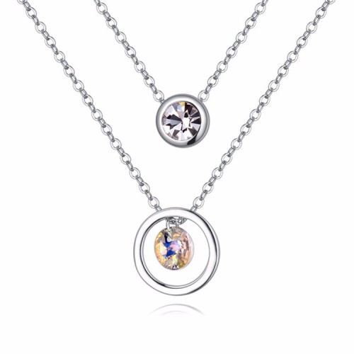 La Javardi Double Layered Pendant Necklace 18K White Gold Plated Swarovski Element