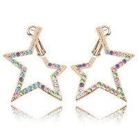 La Javardi Gold Plated Star Swarovski Element Crystal Earings