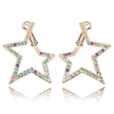 La Javardi Gold Plated Star Swarovski Element Crystal Earings