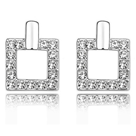 La Javardi Half Moon Stud Earrings White Swarovski Element Cyrstals