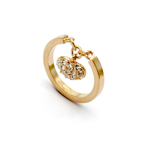 La Javardi Hanging Heart Ring With Swarsvoski Element Crystals