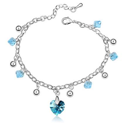 La Javardi Heart Charm Bracelet Swarovski Elements Crystal
