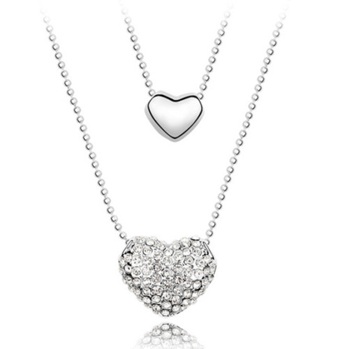 La Javardi Heart Shaped Double Pendant Necklace with Swarovski Crystals