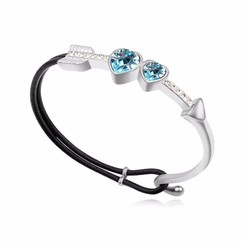 La Javardi Leather And White Gold Bracelet Double Stones Swarovski Element Crystal