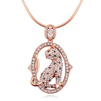 La Javardi Long Chained Cat shaped Necklace Swarovski Element Crystal