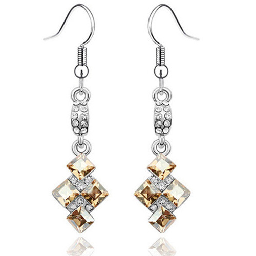 La Javardi Long Earings White Gold Jewelry Crystal