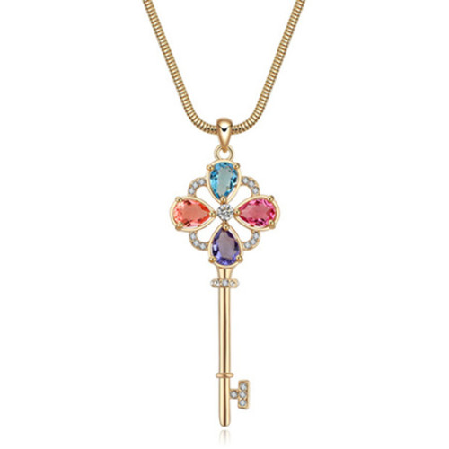 La Javardi Long Multi Coloured Key With Swarovski Element Crystal