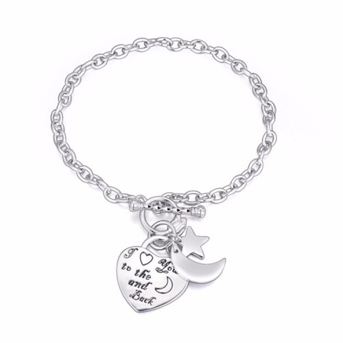 La Javardi Moon Bracelet 18K White Gold Plated