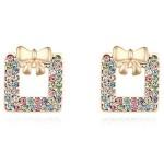 La Javardi Multi Coloured Earings With 18K Gold Plated Swarovski Element Crystals