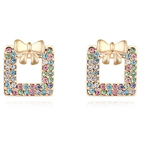 La Javardi Multi Coloured Earings With 18K Gold Plated Swarovski Element Crystals