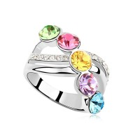 La Javardi Multicolor Crystal Ring With Swarovski Element Crystal Plated White Gold