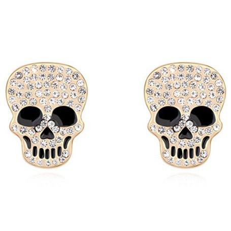 La Javardi Skull Earings Swarovski Element Crystal