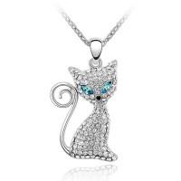 La Javardi Swarovski-Element Crystal Cat Necklace