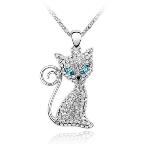 La Javardi Swarovski-Element Crystal Cat Necklace