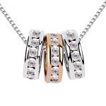 La Javardi Three Circles 18karat Gold Plated Swarovski Element Crystal Necklace