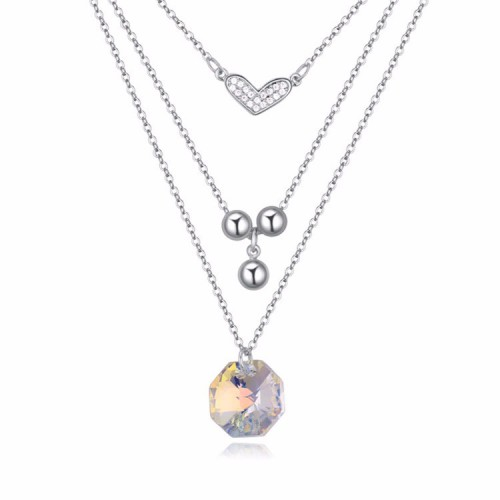 La Javardi Three Layered 18k White Gold Pendant Necklace Jewelry Swarovski Element