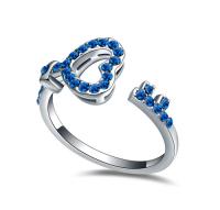 La Javardi Ring Blue Coloured White Gold Crystals